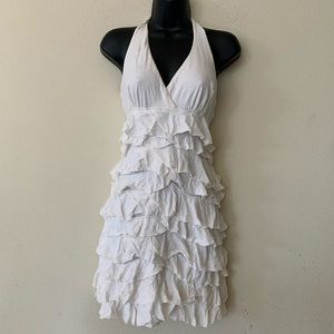 Express White Halter Ruffle Layered Mini Dress